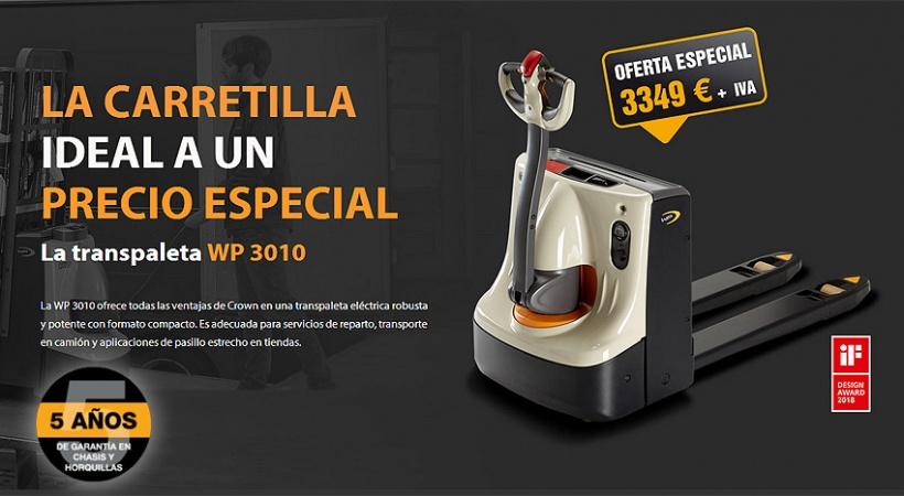 OFERTA EN TRANSPALETA CROWN WP 3010, LA CARRETILLA IDEAL POR TAN SÓLO 3.349€